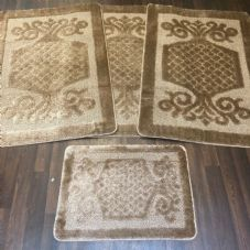 ROMANY WASHABLES GYPSY MATS 4PC SETS NON SLIP SWIRL DESIGN BEIGE LUXURY CARPETS